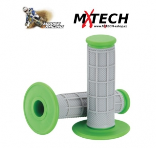 Motokrosové gripy MOOSE RACING Gray/Green Qualifier 1/2 Waffle Grips