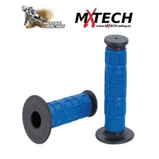 Motokrosové gripy MOOSE RACING Gray/Blue Qualifier Waffle Grips