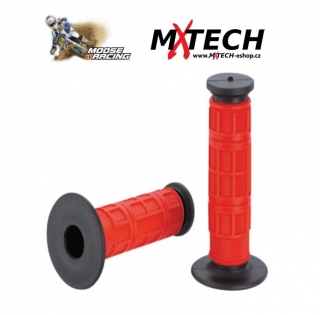 Motokrosové gripy MOOSE RACING RED/BLACK Qualifier Waffle Grips
